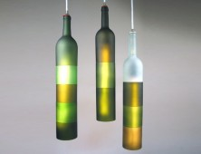 Jerry Kott Recycled Wine Bottle Chandelier: Khrysalis and Kortex Lamp Series