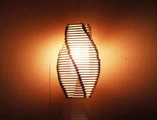 Scribble Pendant Lamp Created from Twisted Ticonderoga Pencils