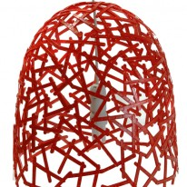 Criss-Crossing Red Coffee Spoons Create Domed Lampshade