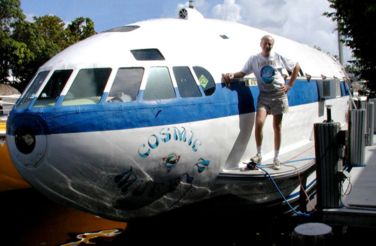sustainable design, green design, recycled materials, plane boat, recycled airplane, transportation Dave Drimmer's Cosmic Muffin