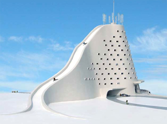 Michael jantzen s design for a ski slope eco hotel for Design hotel ski