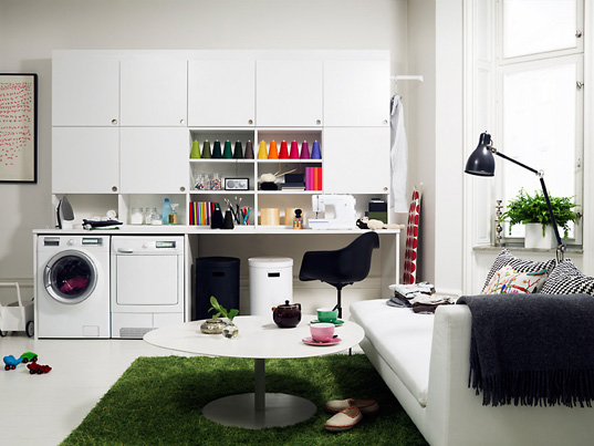 Electrolux Laundry room featuring the Icon Time Manager washing machine and Iron Aid steam dryer
