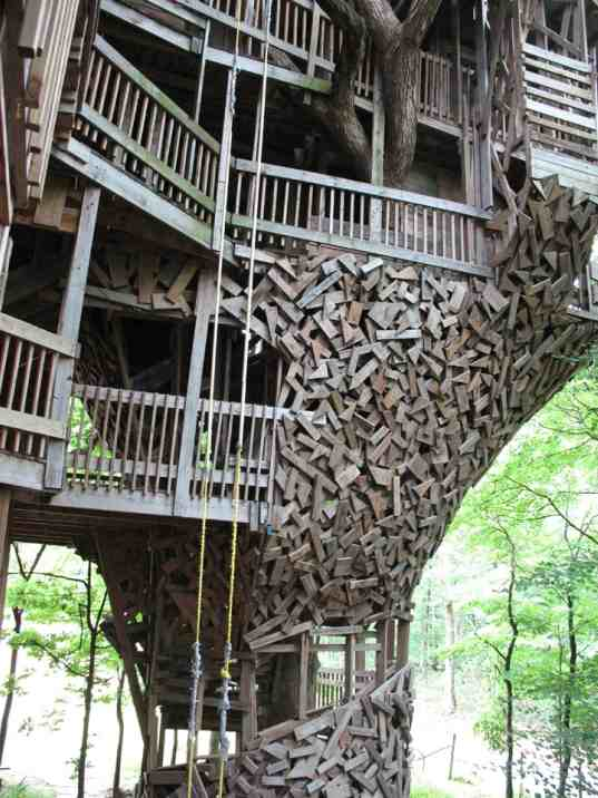 Biggest Treehouse In The World world's tallest treehouse built from reclaimed wood | inhabitat
