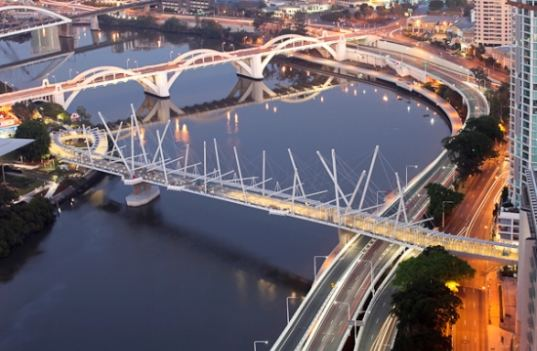 bridge, footbridge, brisbane, australia, solar power, solar-powered bridge, LED, LED lights, Cox Architects