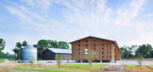 mason lane farm, barn, sustainable farm, bamboo, bamboo barn, natural ventilation, daylighting, stormwater infiltration, rainwater collection, sustaianble materials, north carolina, de leon & primmer architecture workshop