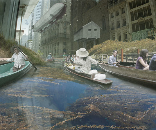 flooded cities, global warming, climate change, melting ice caps, rising tides, rising water lines, studio lindfors, new york, tokyo, london, paris