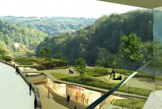 mixed-use development, green roof, natural ventilation, daylighting, public park, open space, terraced landscape, medieval city, germany, weilburg