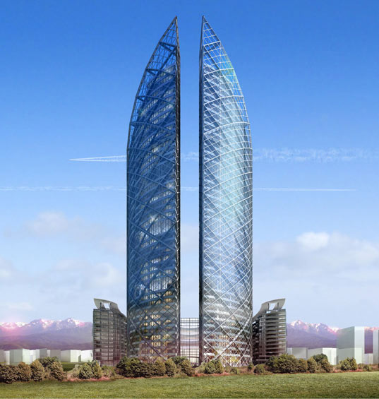 Norman foster s almaty twin towers in kazakhstan for Office design kazakhstan