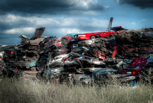 sustainable design, green design, policy, cash for clunkers, russia, auto recycling, junkyard, Auto Graveyard by Kodiax2