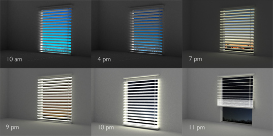 blight solar blinds, greener gadgets design competition, renewable energy, photovoltaic blinds, sustainable design, green design, illuminating blinds, interior design