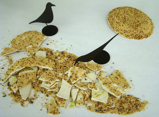 birdseed plate, unidentified feeding object, indisposed