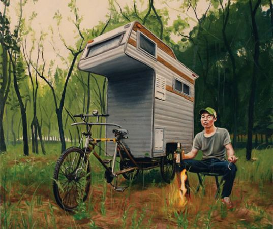 Painting of kevin cyr s camper bike inhabitat green for Cabover house plans