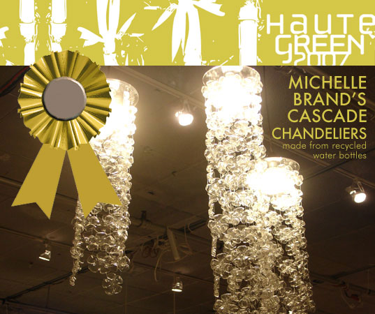 HauteGREEN Editors Choice Awards, Michelle Brand Recycled Water Bottle Cascade Chandelier