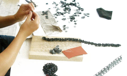 christiane diehl, rubber jewelry, recycled rubber jewelry, re-purposed rubber jewelry