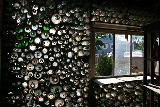 Recycled Glass Used As A Construction Material : Grandma made village out of tens thousands bottles