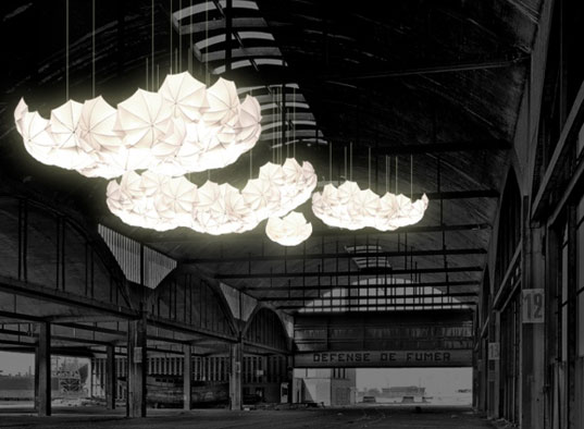 Cumulus Light Canopy Steven Haulenbeek Steve Haulenbeek Chicago designer umbrella light umbrella l& umbrella chandelier « Inhabitat u2013 Green Design ... & Cumulus Light Canopy Steven Haulenbeek Steve Haulenbeek Chicago ...
