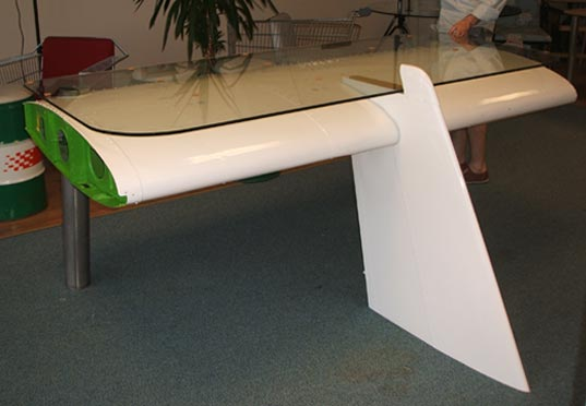 Bon Deborah Recycled Airplane Wing Desk, Sustainable Design, Reestore Green  Design, Recycled Materials,