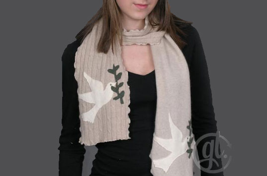Recycled Cashmere peace from Greenloop, Recycled Cashmere Dove scarf, sustainable scarf, eco scarf, organic scarf, greenloop, organic knitwear, green scarves, Green loop