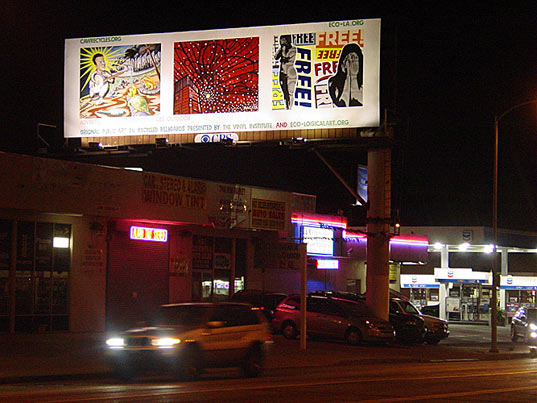 eco art, recycled billboard vinyl, recycled materials art, environmental art, waste reduction art, discarded vinyl art, public space, public art, los angeles public art, peter shulberg, eco logical art, ecological art, eco la, billboard art