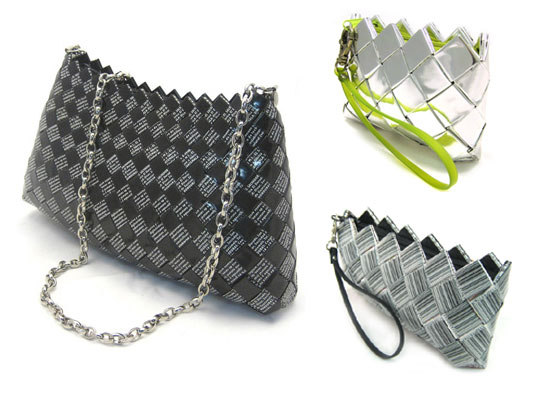 ecoist, recycled candy wrapper handbags, recycled candy wrapper purse, recycled food packaging purse, upcycle purses, helen jonathan marcoschamer