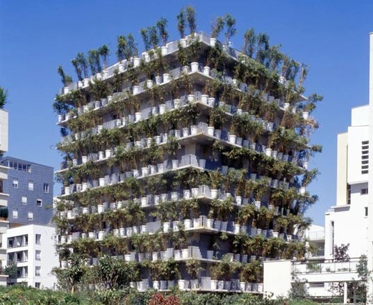 sustainable design, green architecture, green building, living walls, green facade, botany, flower tower
