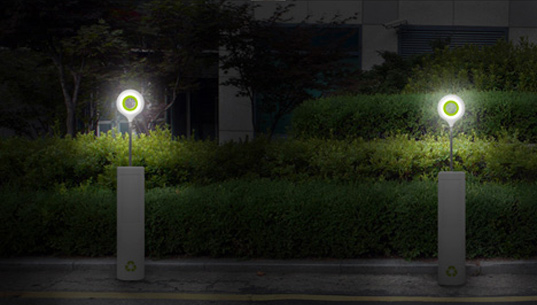 energy seed streetlight, recycled battery street lamp, sungwoo park, sunhee kim, alternative lighting, sustainable design, green design, recycled alkaline batteries