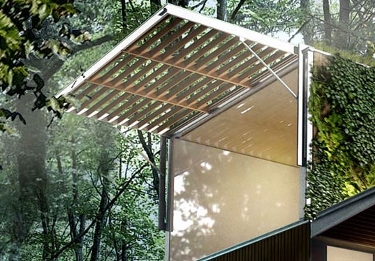Énóvo House, Énóvo House Canada, Énóvo prefab house, modular architecture, prefabricated housing, prefabricated buildings, green building Cananda, prefab housing Canada, environmentally friendly building, locally sourced materials, solar shades, green roofs Canada, enovohouse3