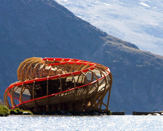 wooden structure, zermatt, switzerland, matterhorn, viewing structure, spiraling structure