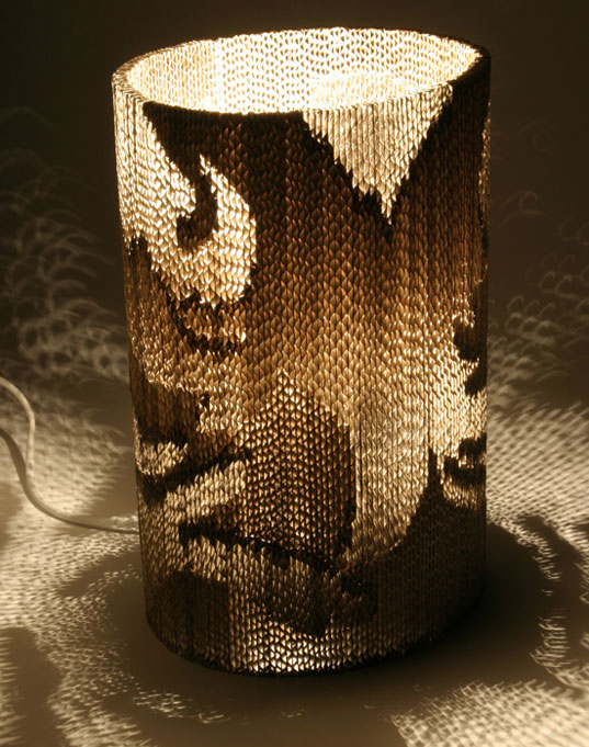 design lamp made bargh at tabitha corrugated barghs from lamps striking textured are recycled cardboard