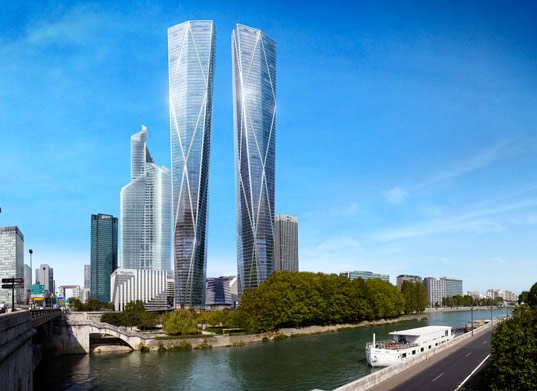 Norman Foster Unveils Twin Faceted Skyscrapers For Paris on Zero Energy Building