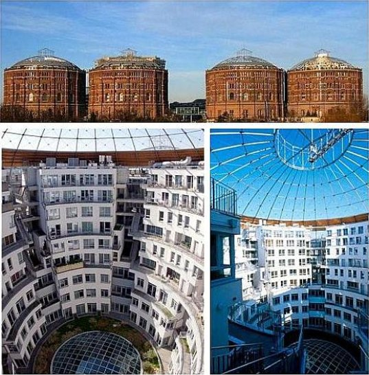 sustainable design, green design, renovation, vienna gasometers, adaptive reuse, sustainable architecture, green renovation, green building, sustainable building, gasometers transformed into housing