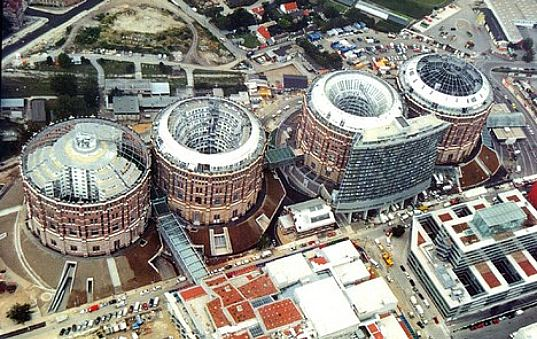 sustainable design, green design, renovation, vienna gasometers, adaptive reuse, sustainable architecture