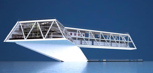 formodesign, house on the water, floating house, floating architecture, self sufficient, desalination, solar energy, tidal energy, solar panels, water recycling