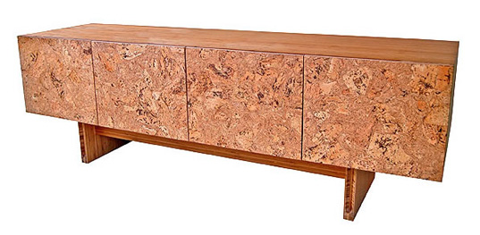 iiannone daisy dresser, iannone design, cork furniture, icff, sustainable furniture, sustainable building materials, renewable cork, sustainably harvested cork, fsc certified cork, cork mosaic sideboard