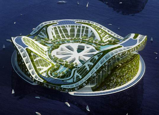 lilypad, floating cities, biomimicry inspired city, lilypad floating city, global warming solution, rising seas concept, refugee city, climate refugee