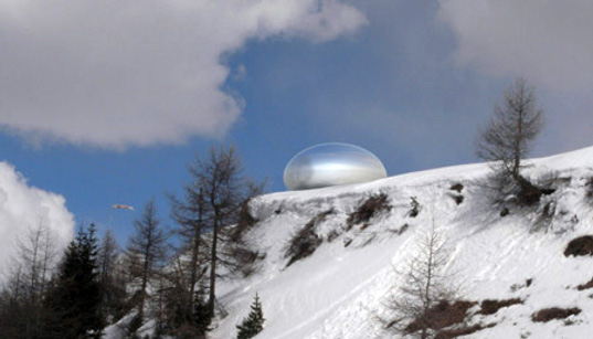 ross lovegrove, alpine capsule, solar powered, sustainable building, green architecture, green design, conceptual architecture