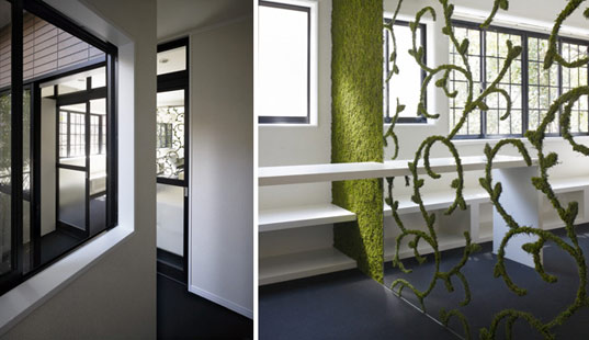 moss house, nendo, ebisu japan, Shibuya River, natural pattern, wallpaper, interiors, artistic installation