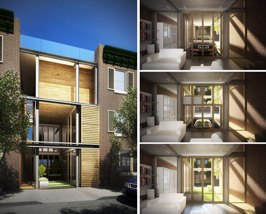 Grid house maximizing green space in urban infill for Small urban house plans