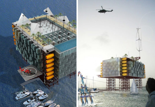 morris architects, reclaimed oil rig resort, alternative energy, renewable energy, sustainable architecture, green building, wind power, turbine