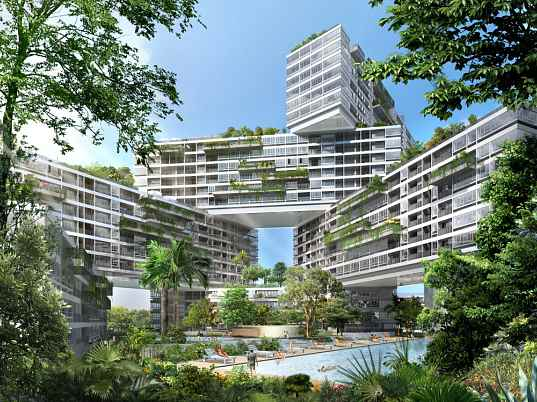 The interlace oma singapore rooftop gardens solar passive design apartment complex