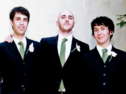 Peter groomsmen - with matching green silk ties, Peter Rojas, eco friendly wedding wear, eco friendly bridal wear, eco-friendly suits, vintage suits, green wedding garb, eco ties, eco friendly wedding dress, bridal party attire