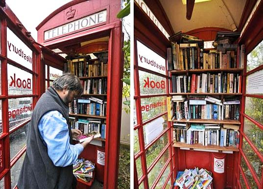 sustainable design, green design, recycled materials, phone box library, westbury sub mendip, public space, urban design