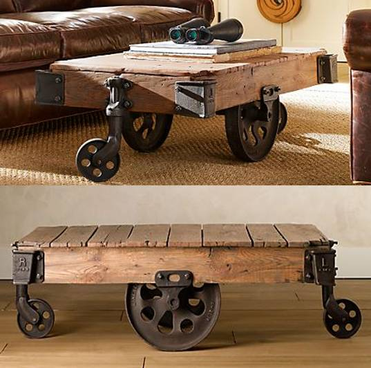 Reclaimed Factory Cart Table From Restoration Hardware Design