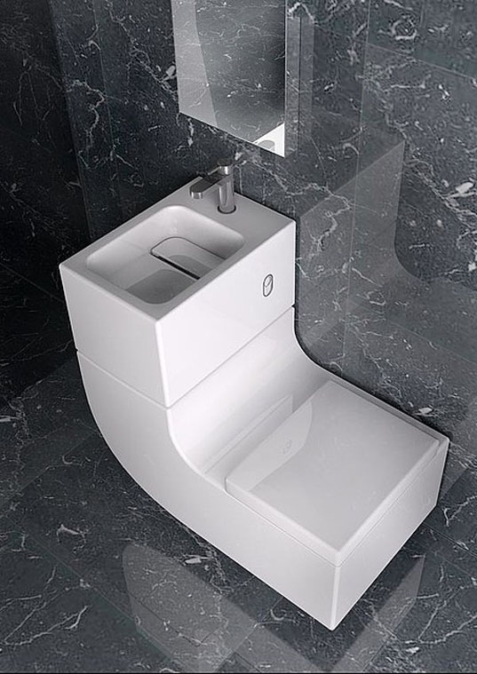 Sleek sink toilet combo is an all in one greywater for Inodoros modernos