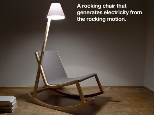 rocking chair uses motion to power attached oled lamp inhabitat green design innovation. Black Bedroom Furniture Sets. Home Design Ideas