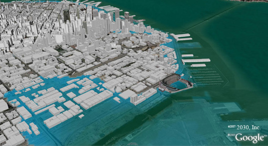 San Francisco flooded under future global warming sea-level rise, global warming, sea level rise will cause San Francisco to flood, San Francisco flood zones, architecture2030, Ed Mazria, how will rising sea-levels affect San Francisco, South Beach, Mission Bay