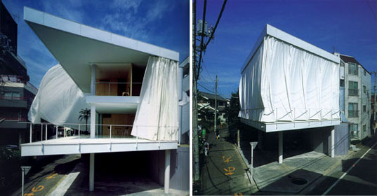 Shigeru ban curtain wall house inhabitat green design for Modern house curtains
