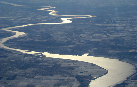 Shiny River, Aerial Photography of winter midwest, Jill Fehrenbacher photography