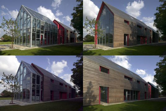 sliding house by drMM, sliding house, house that slides, a movable house, transforming house, sustainable timber home, movable barn, movable roof and walls, movable skin house