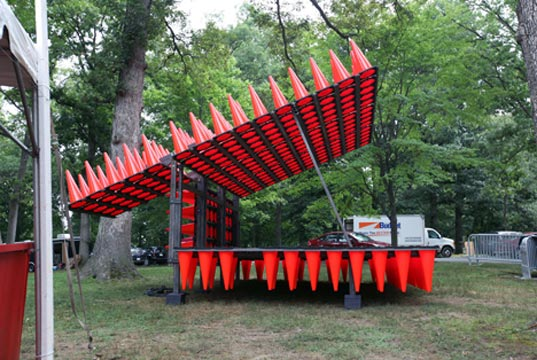 efgh, hedgehog, traffic, traffic cones, sustainable design, green design, recycled traffic cone stage
